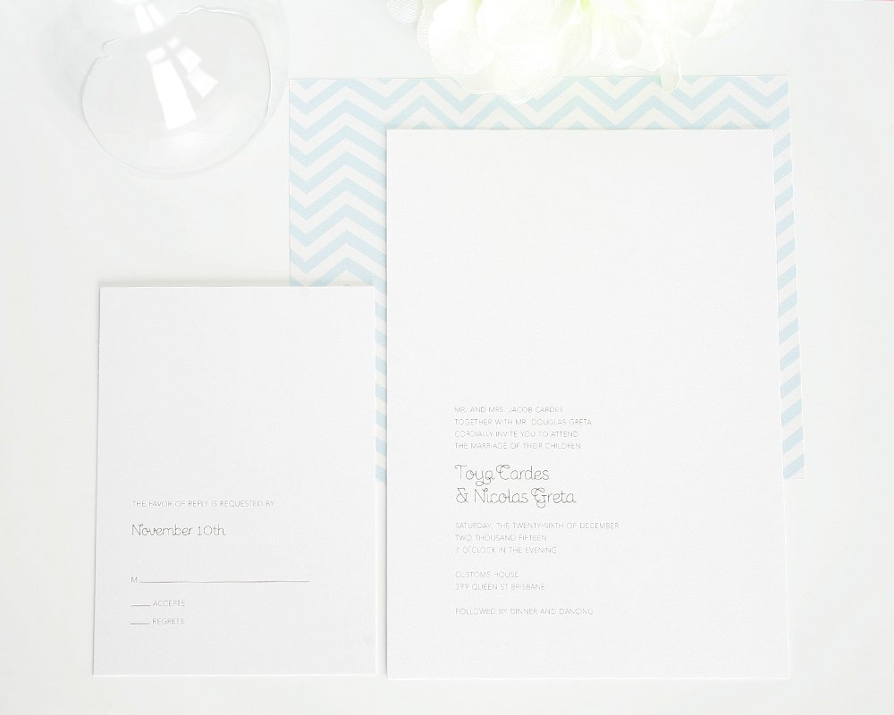 Minimalist wedding invitation with chevron patter