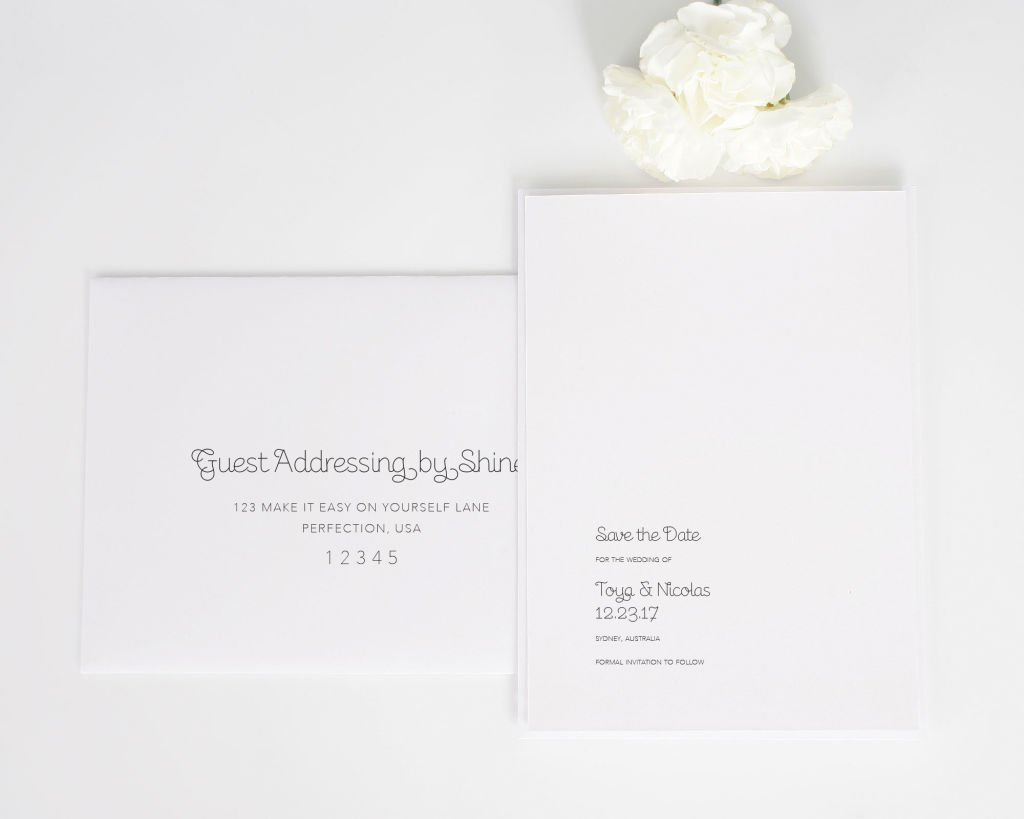 Minimalist Save the Date Cards with Addressing