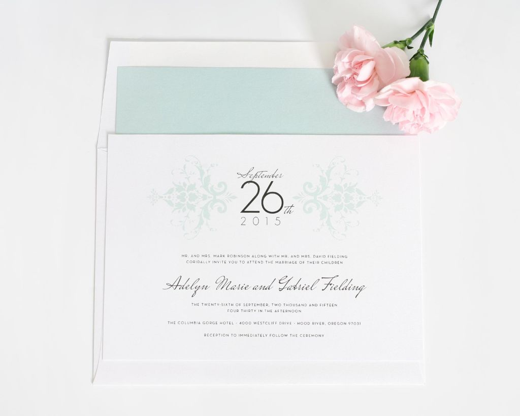 Unique mint wedding invitation with damask pattern