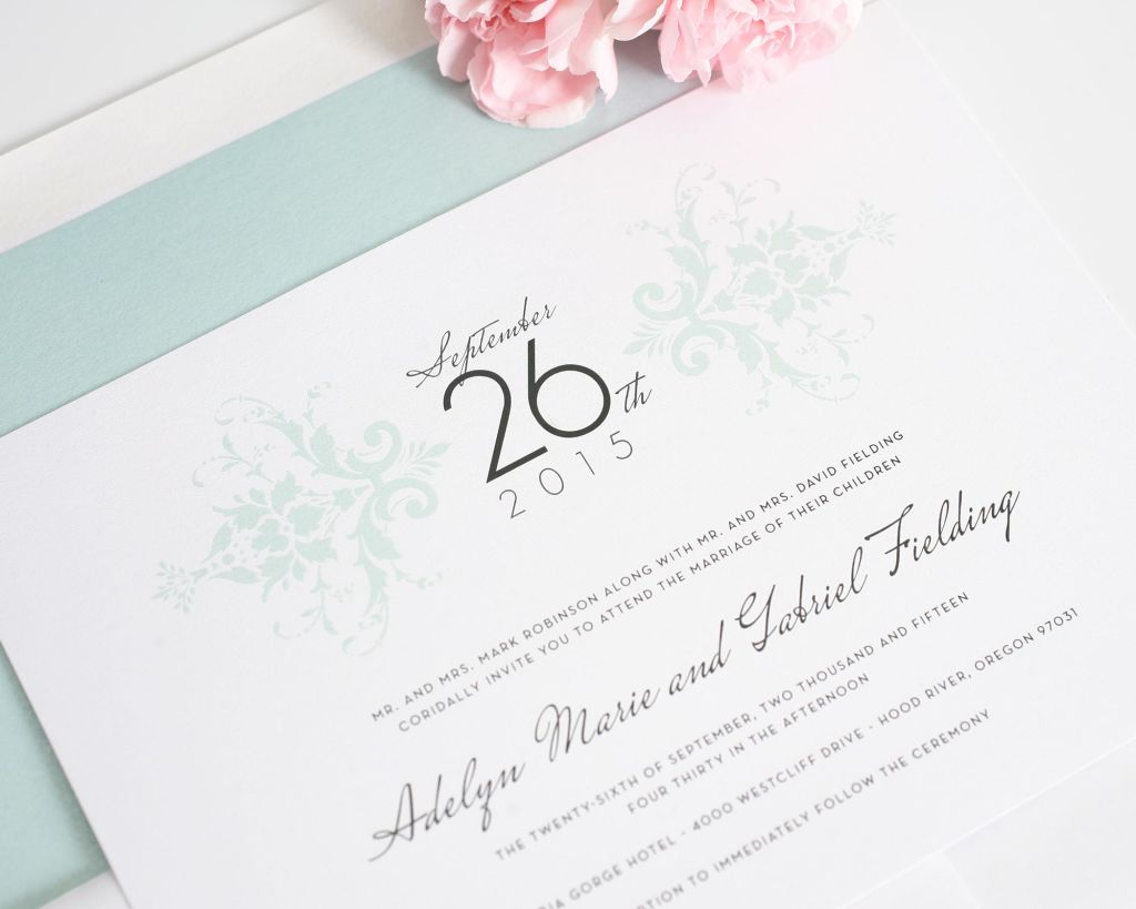 Mint wedding invitations with monogram and damask pattern