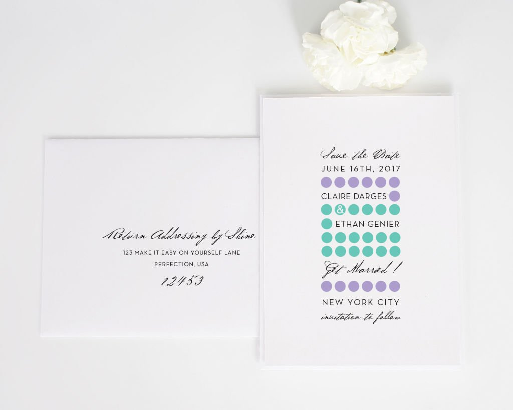 Modern Circles Save the Date with Addressing