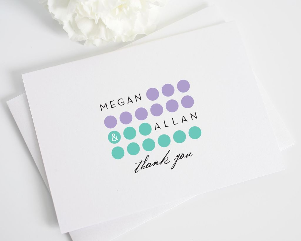 Modern Thank You Cards with Circles and Dots in Purple and Blue