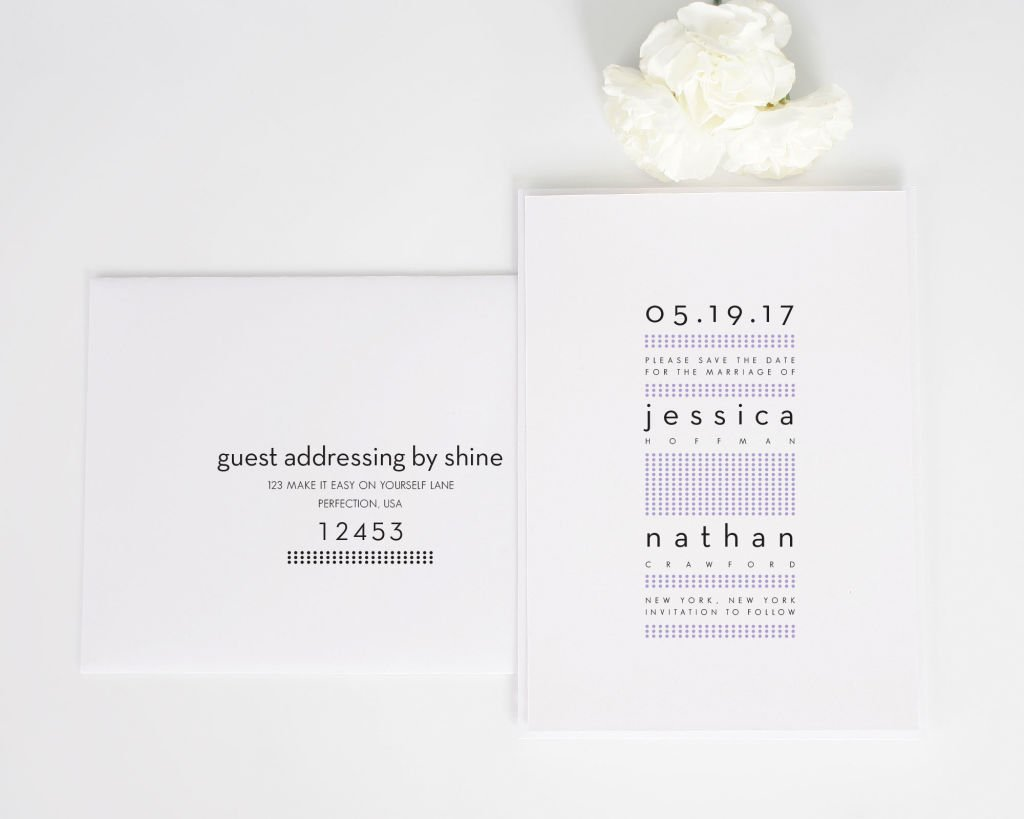 Modern Dots Save the Date Card with Addressing
