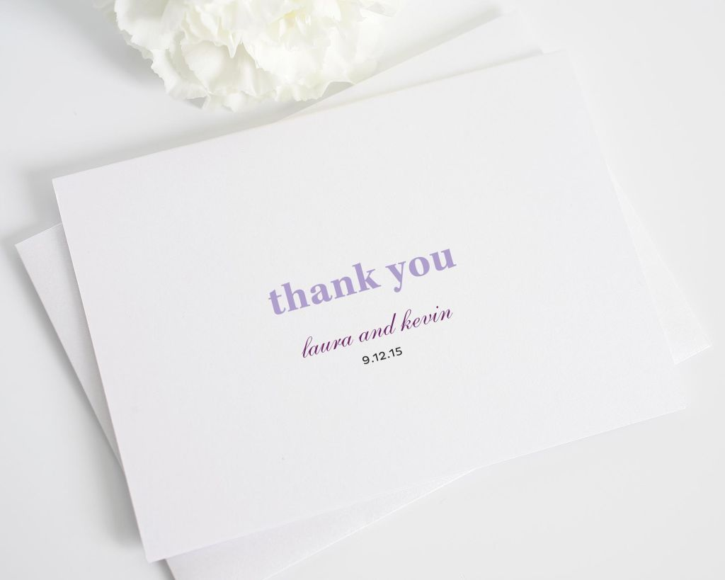 Modern and Elegance Thank You Card in Purple