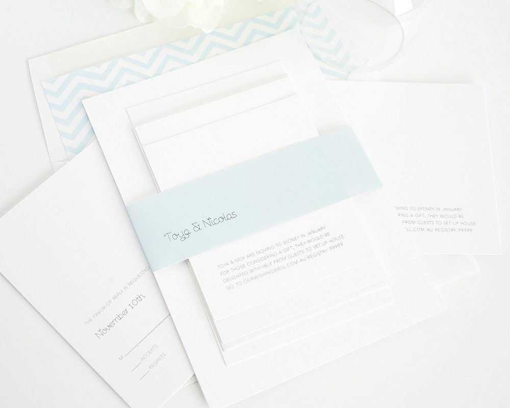 Modern wedding invitations in light blue