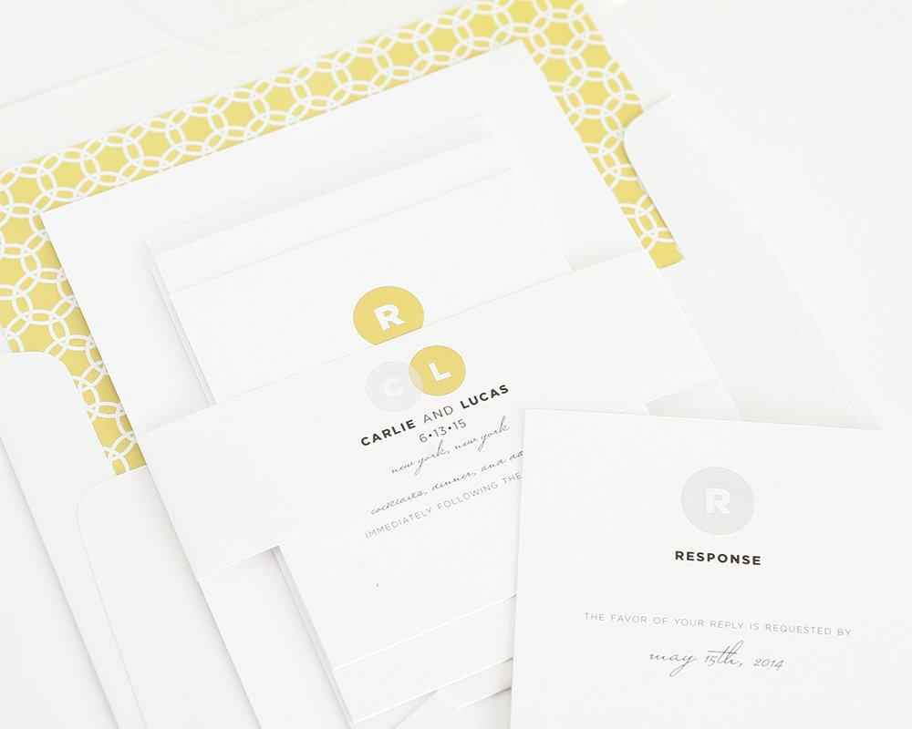 Modern wedding invitation in silver and gold