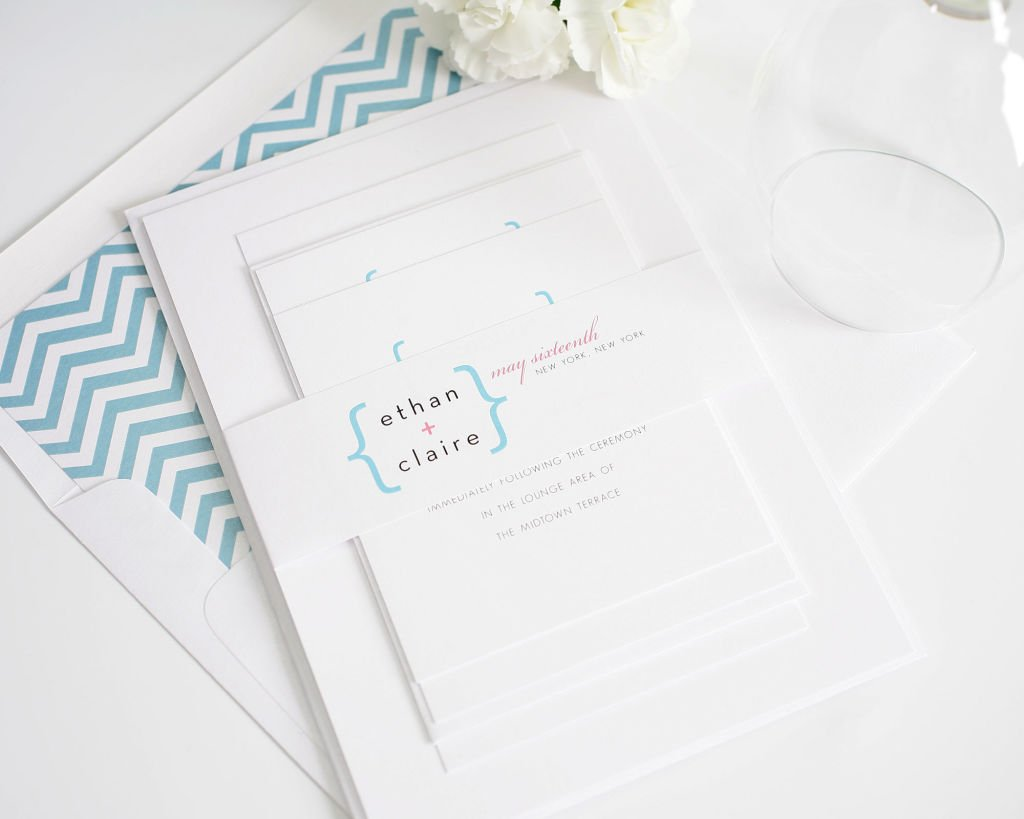 Modern Wedding Invitations in Pink and Blue Chevron
