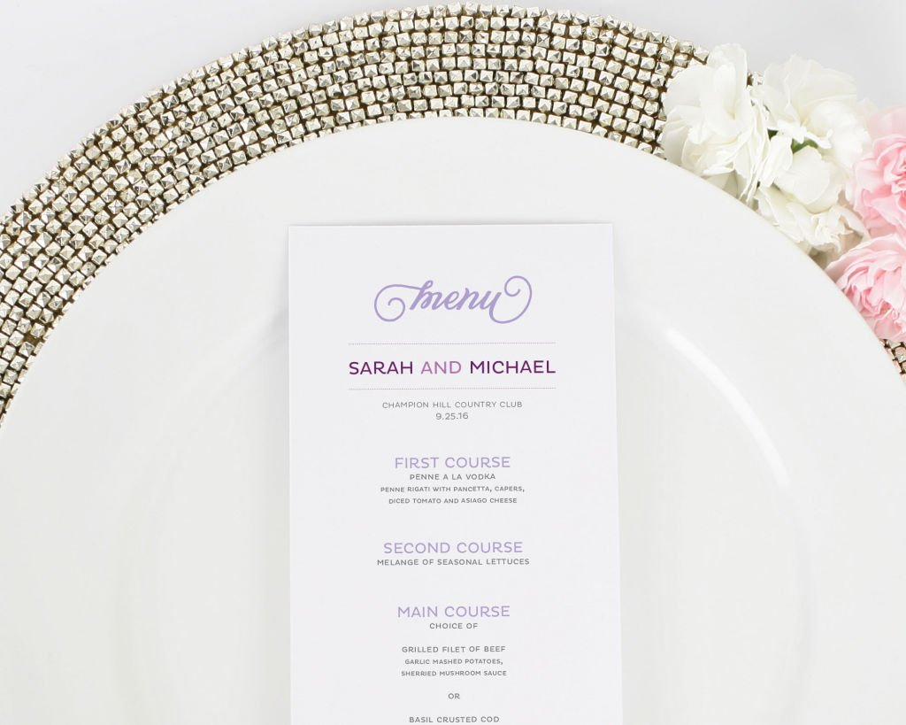 Modern Whimsy Wedding Menus