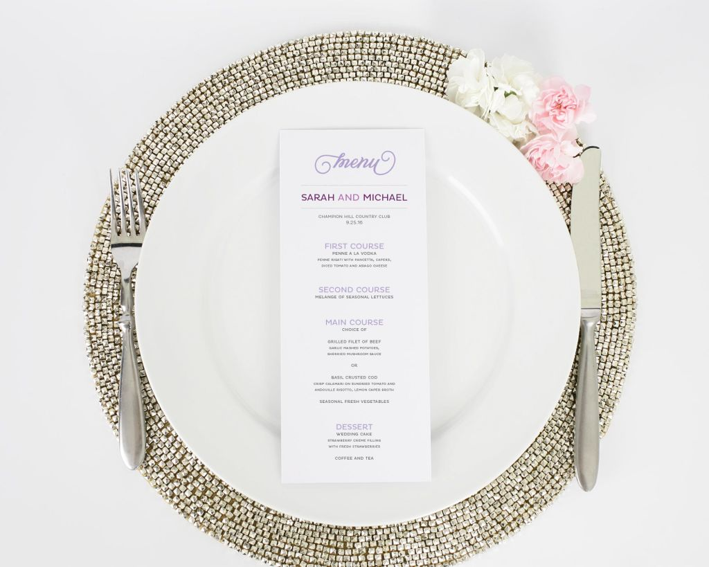 Modern Whimsy Dinner Menus