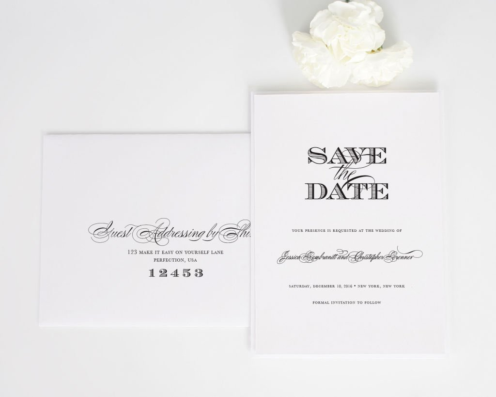 Ornate Elegance Save the Date Cards with Addressing