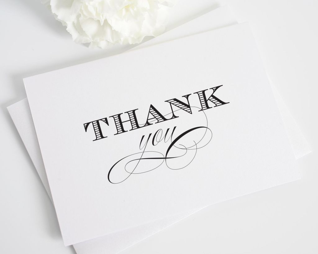 Elegant Thank You Card in Black and White