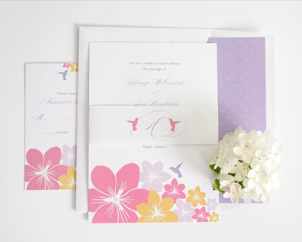 Pastel wedding invitations with hummingbirds