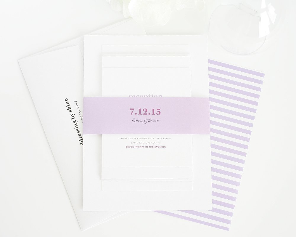 Preppy wedding invitations in purple