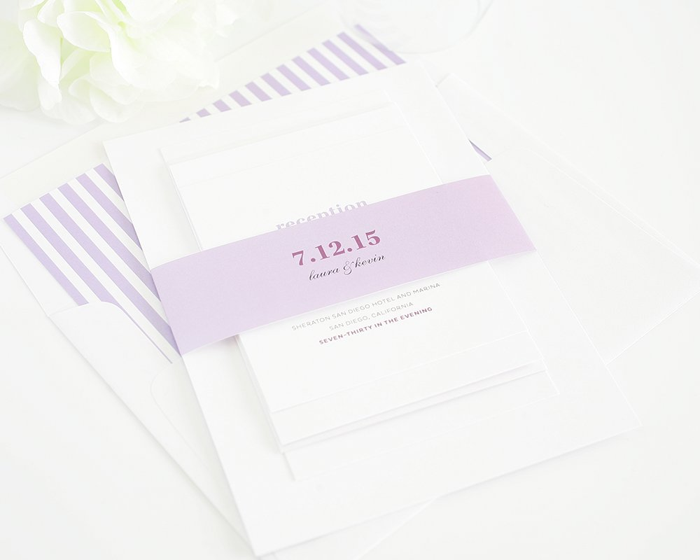 Purple wedding invitations with stripes and belly band