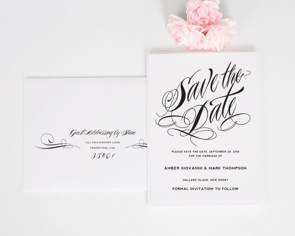 Ravishing Script Save the Date with Addressing