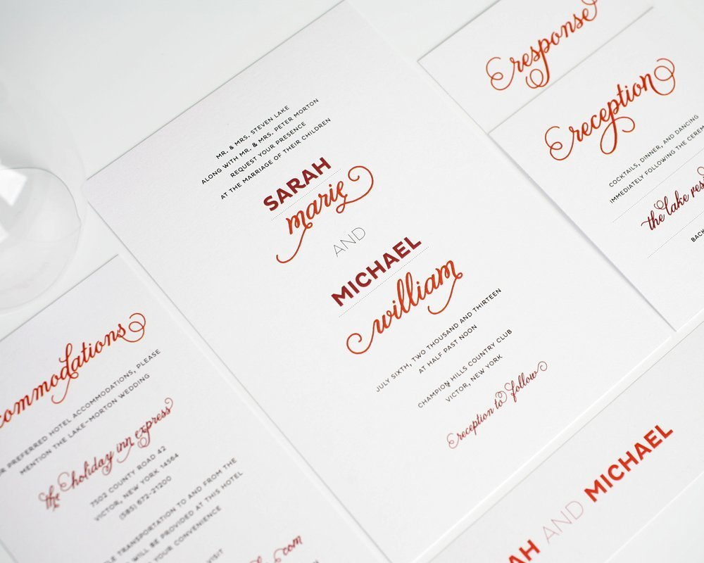 Red Modern Wedding Invitation Suite