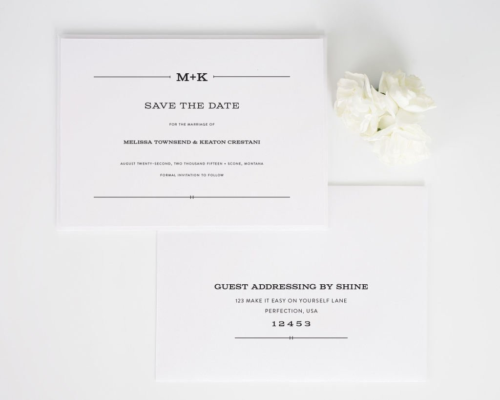 Rustic Simplicity Save the Date Cards with Addressing