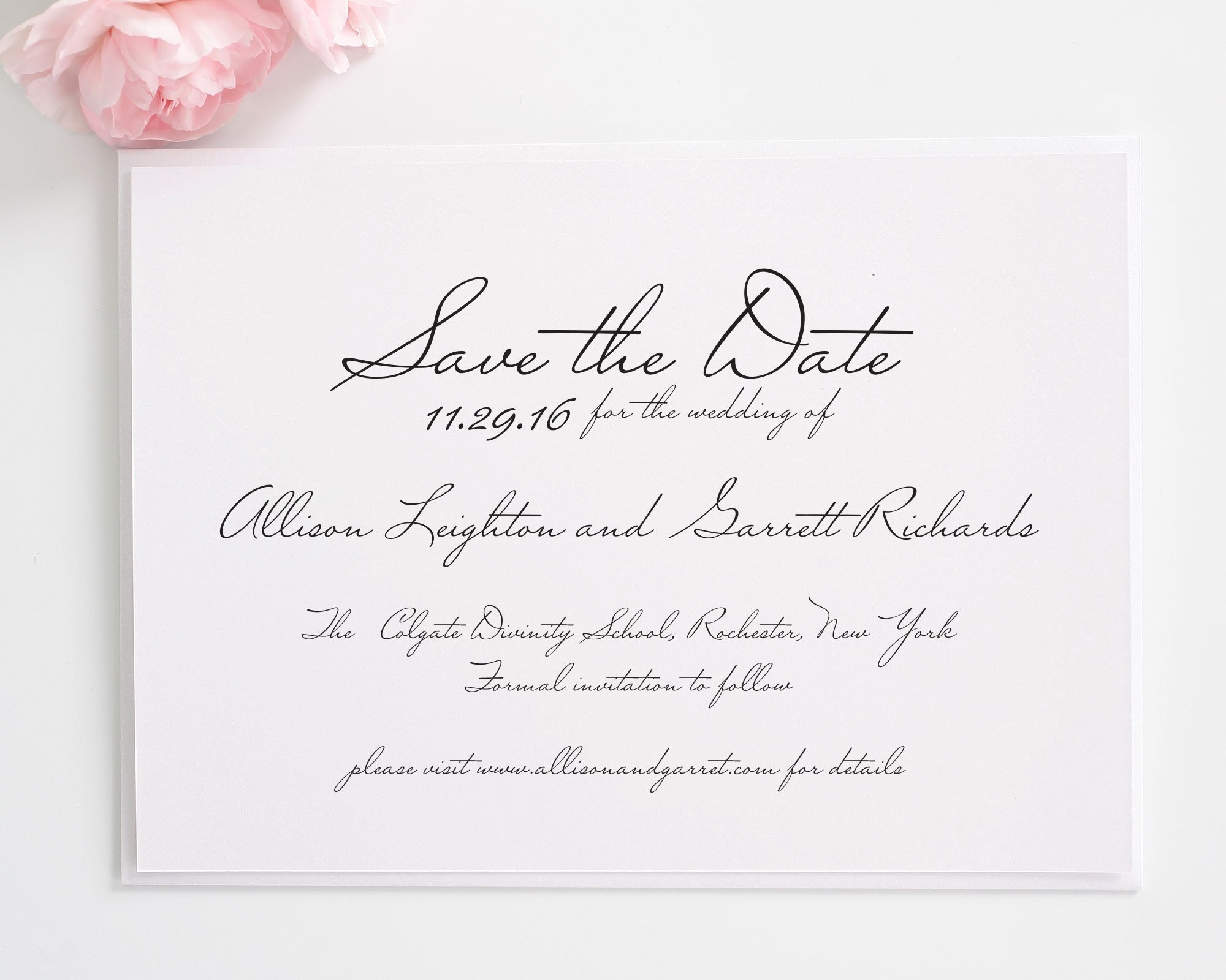 Wedding Invitation Save The Date: Schoolhouse Script Save The Date Cards
