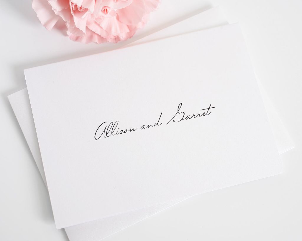 Simple script wedding thank you cards personalized with names