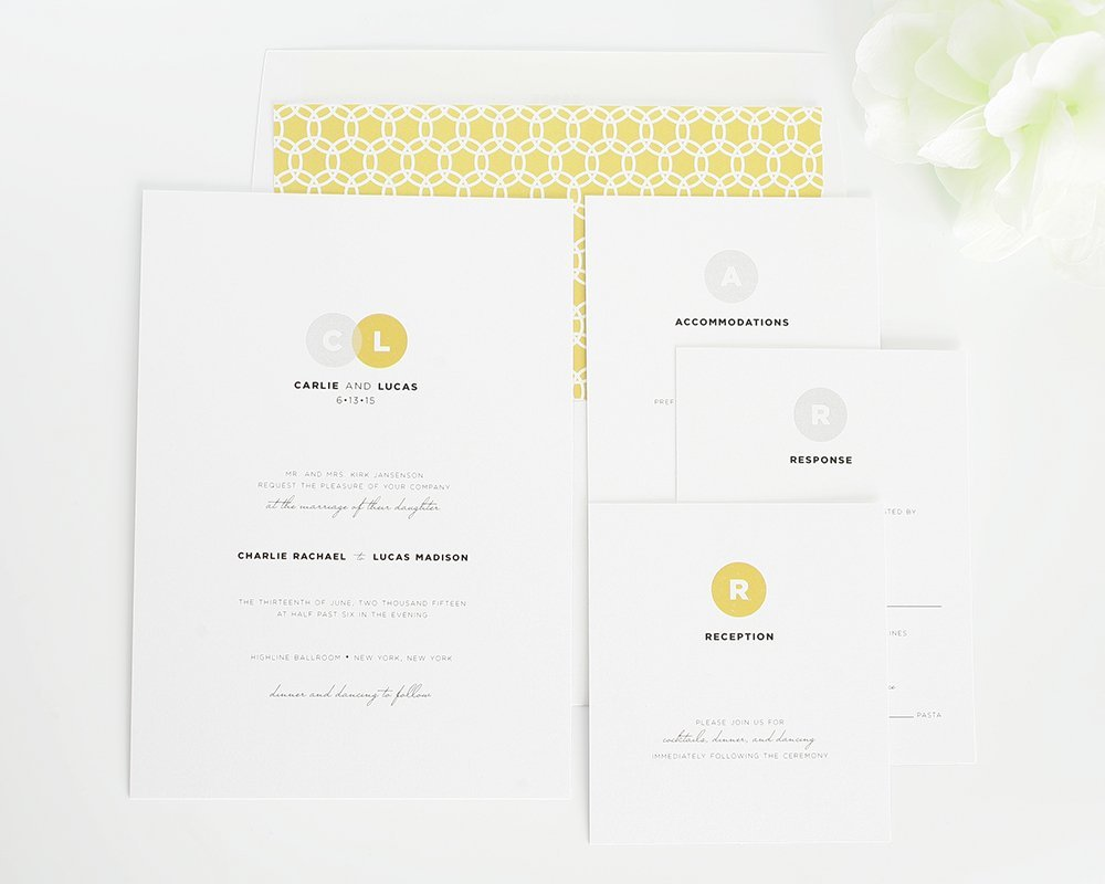 Silver and gold modern wedding invitations