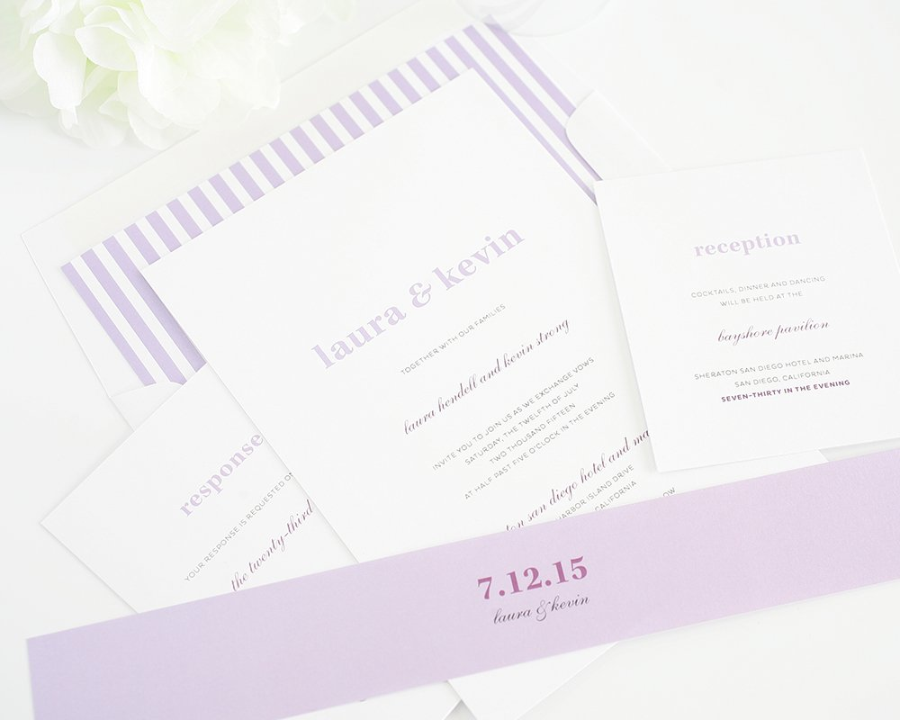 Simple and elegant purple wedding invitations