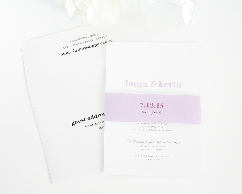 Simple Wedding Invitations in Purple