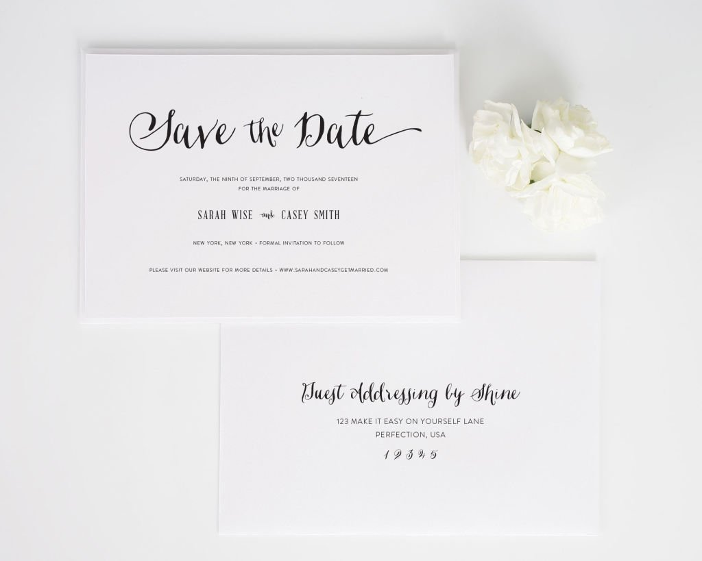 Stylish Script Save the Date Cards with Addressing
