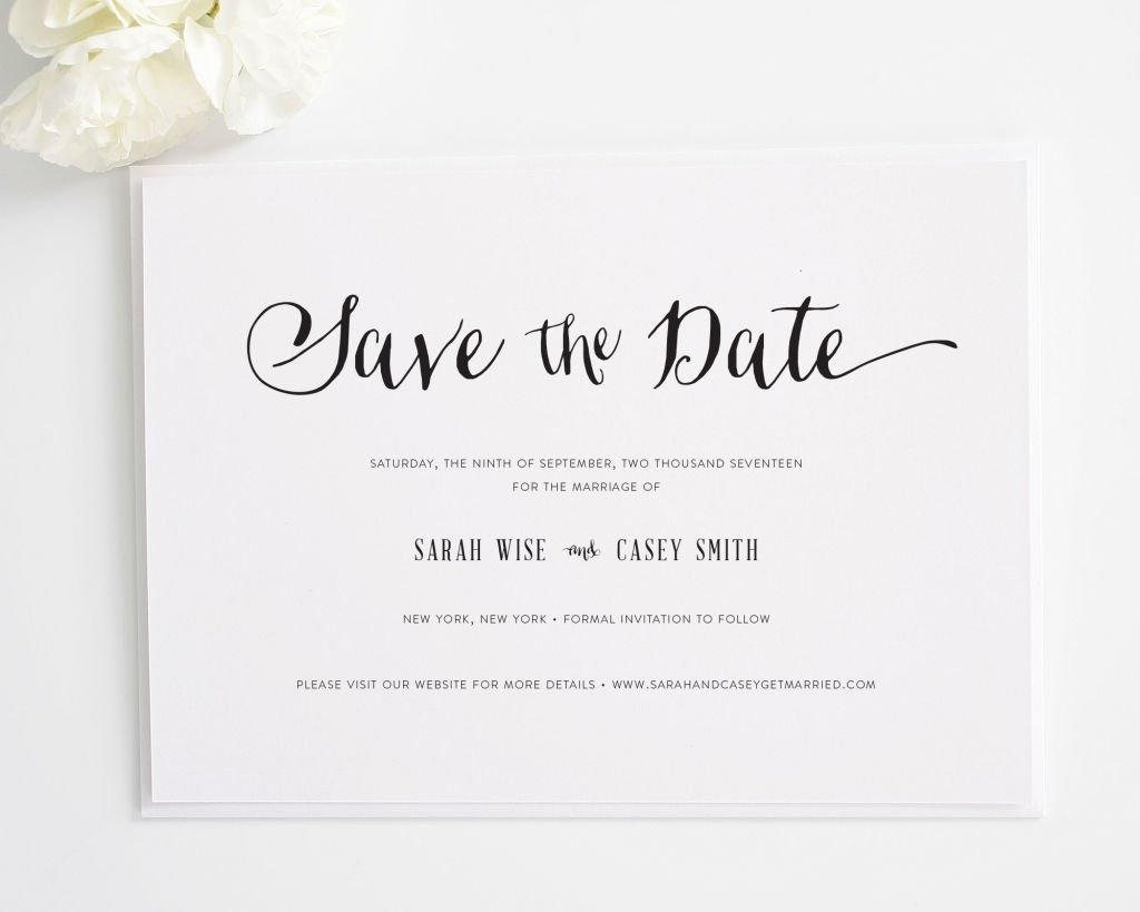 Stylish Script Save the Date Card