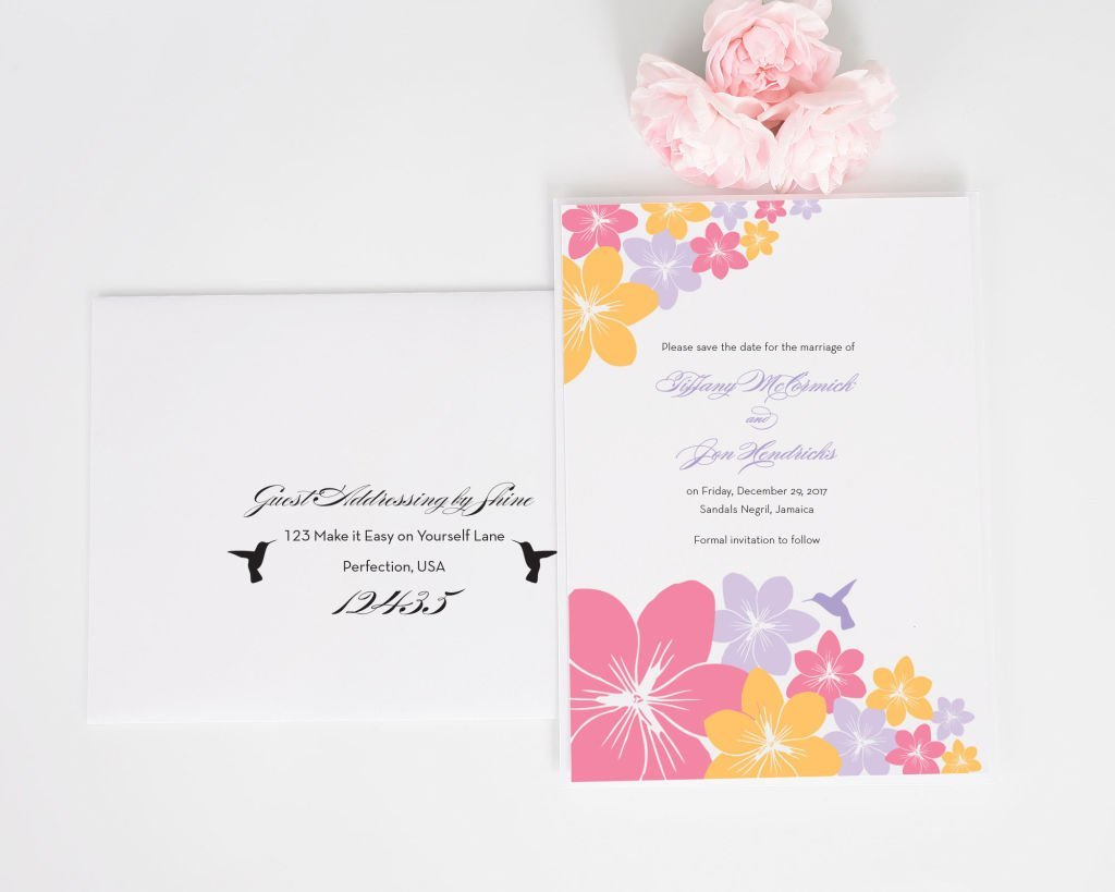 Tropical Hummingbird Save the Date Cards with Addressing