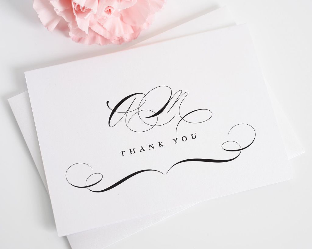 Thank you cards with script monogram for wedding in black and white