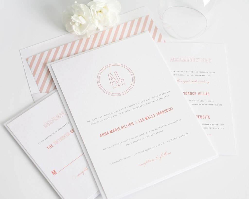 Wedding Invitations in Coral with Monogram