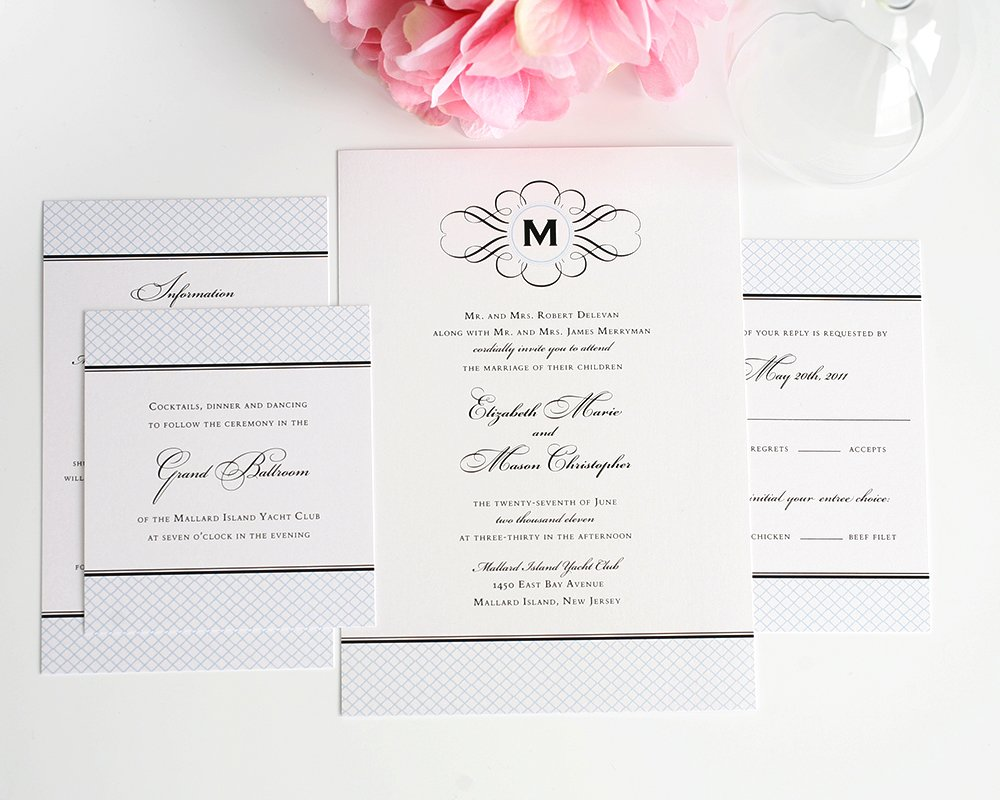 Wedding Invitations with Crosshatch Pattern