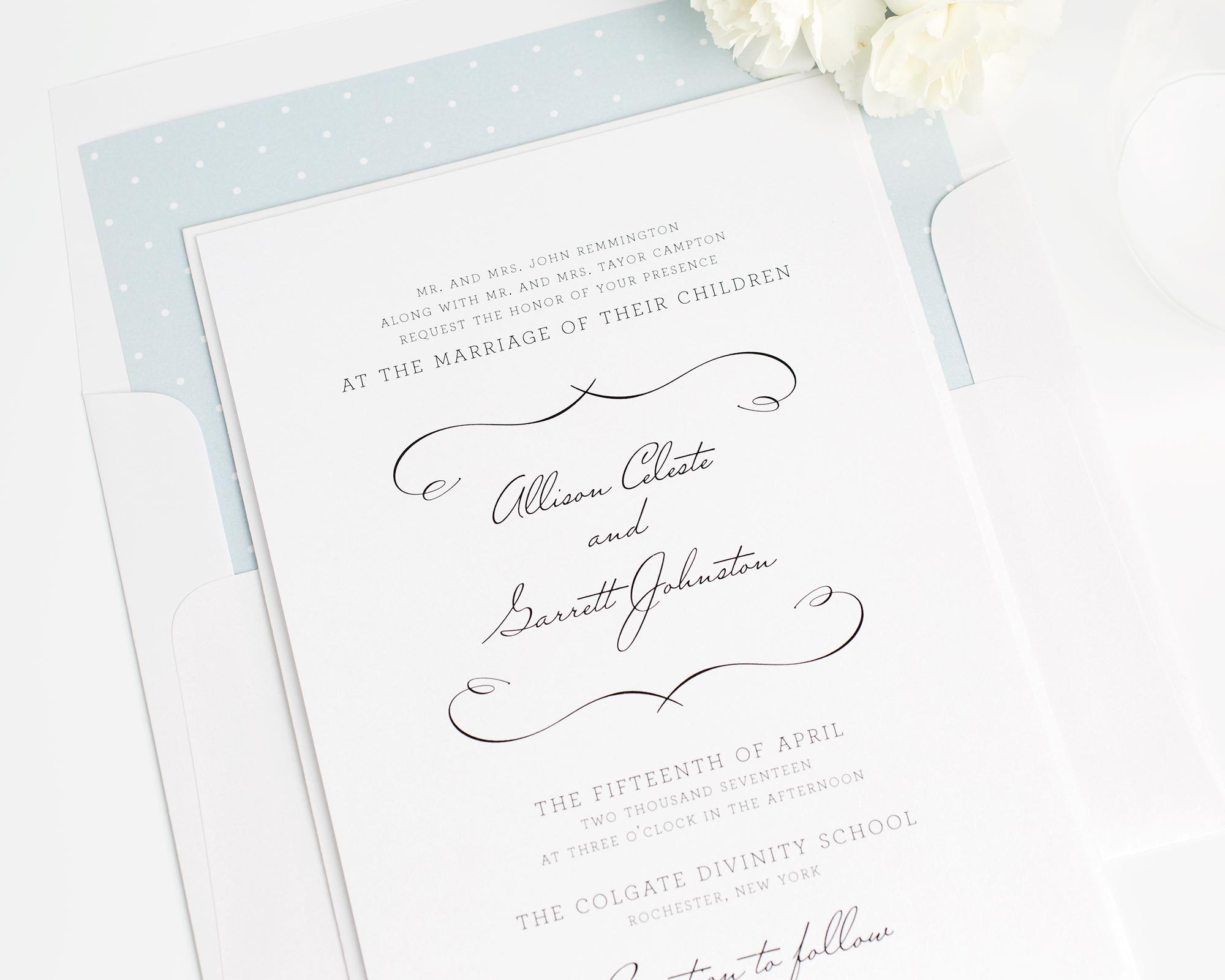 French Country Wedding Invitations in White - Wedding Invitations by ...