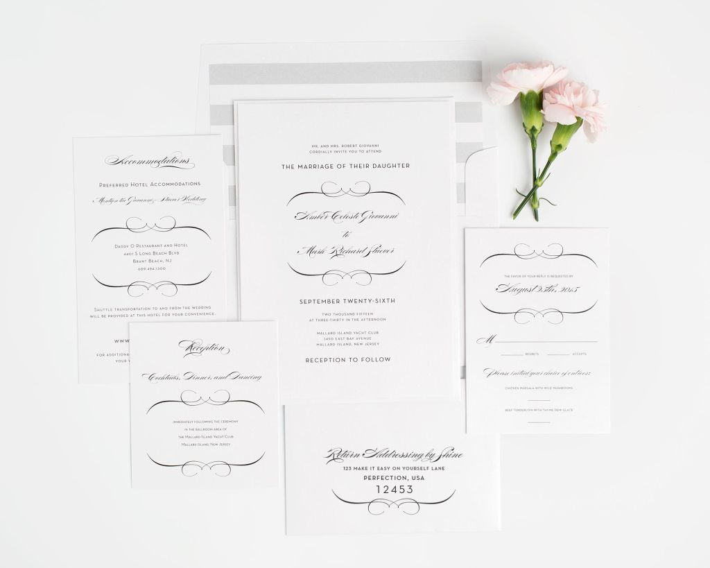 Wedding Invitation Package with Swirls