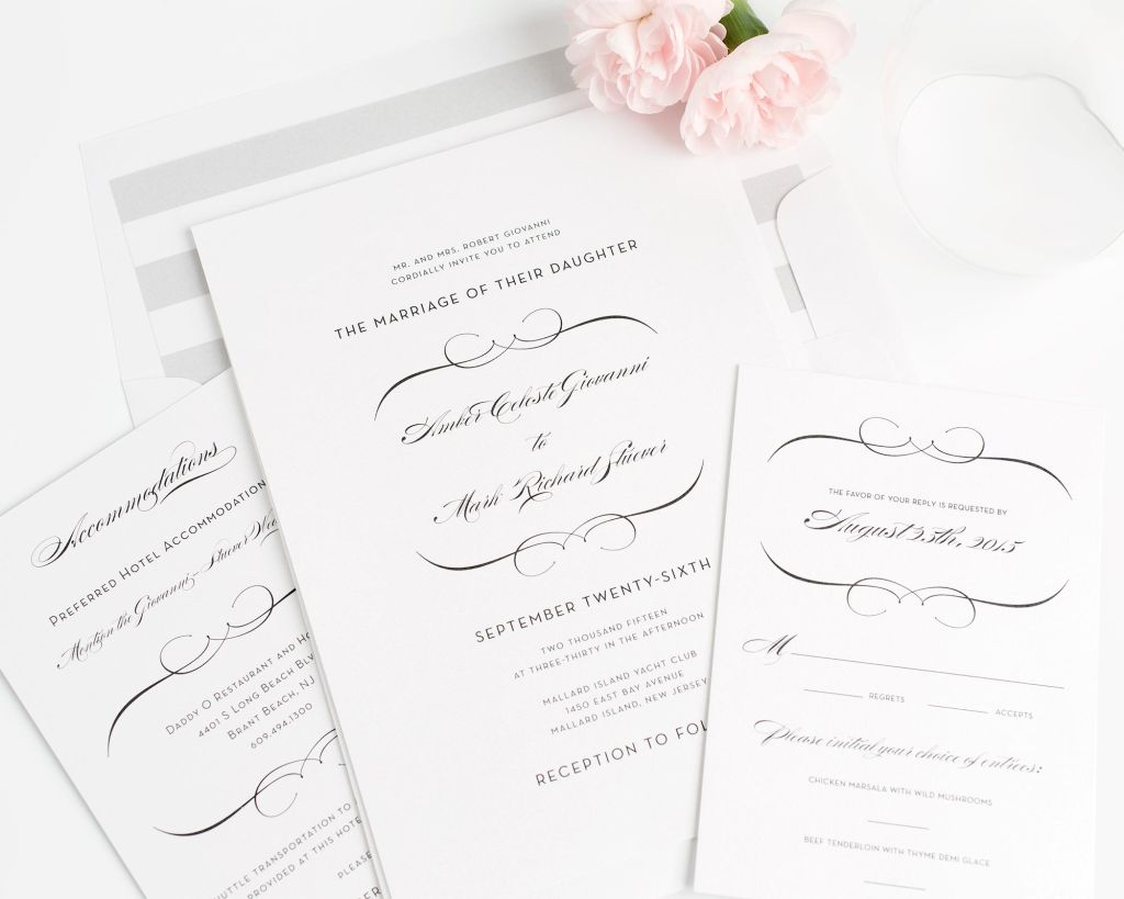 Silver Striped Wedding Invitations