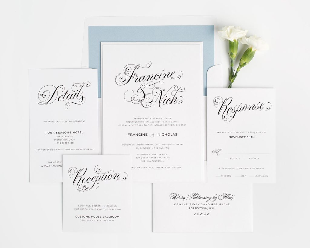 Glamorous Script Wedding Invitations - Wedding Invitations by Shine