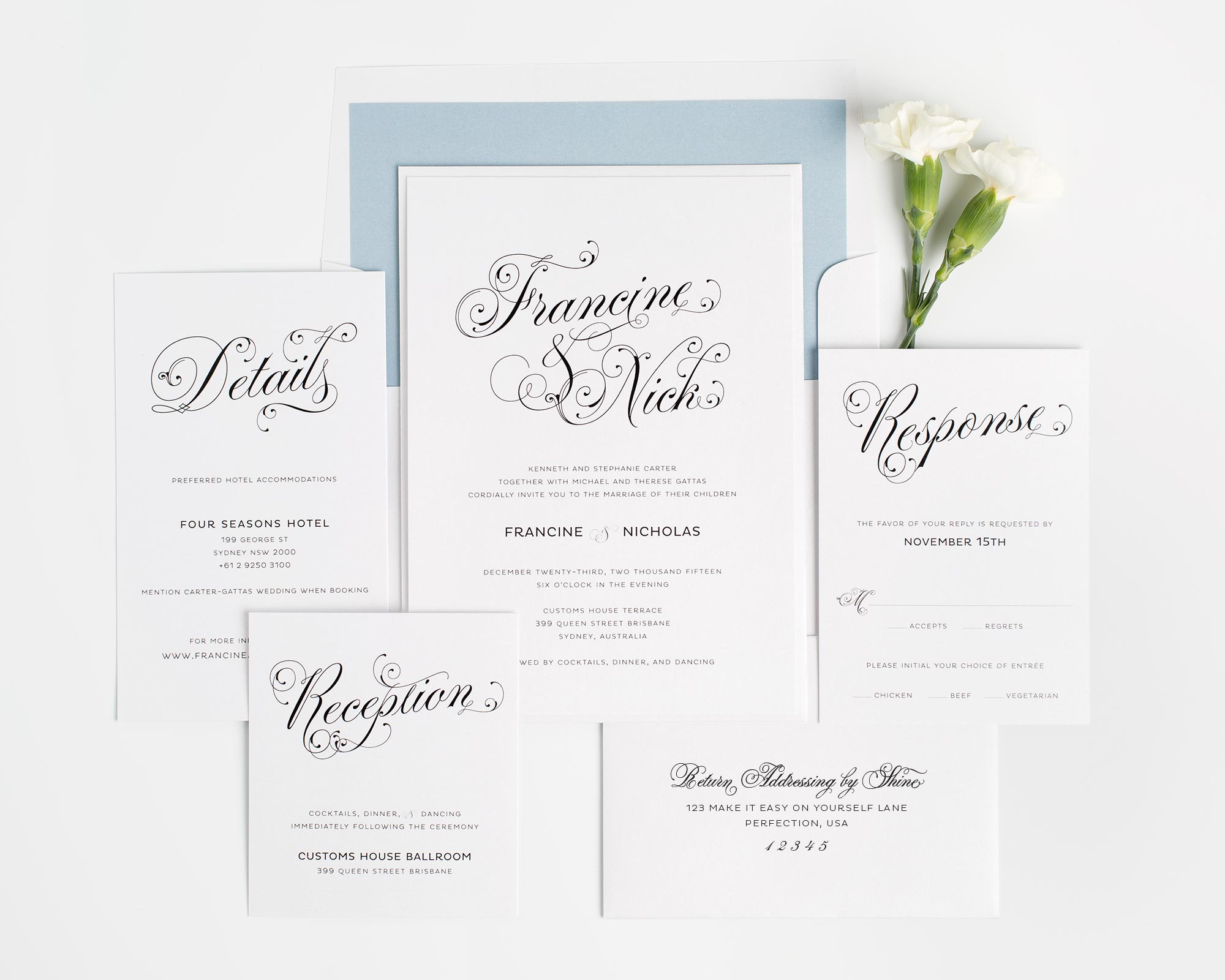 Glamorous script wedding invitations wedding invitations by shine vintage wedding invitation with envelope previous next solutioingenieria