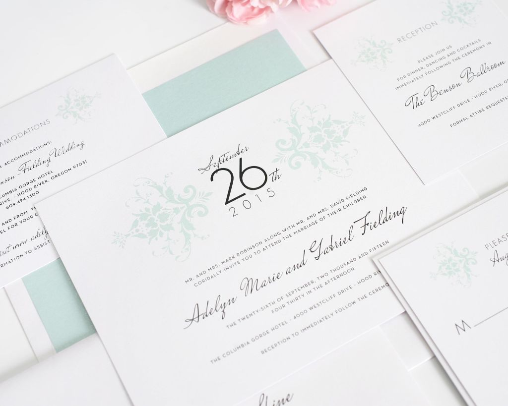 Wedding Invitations in Mint with Damask Pattern