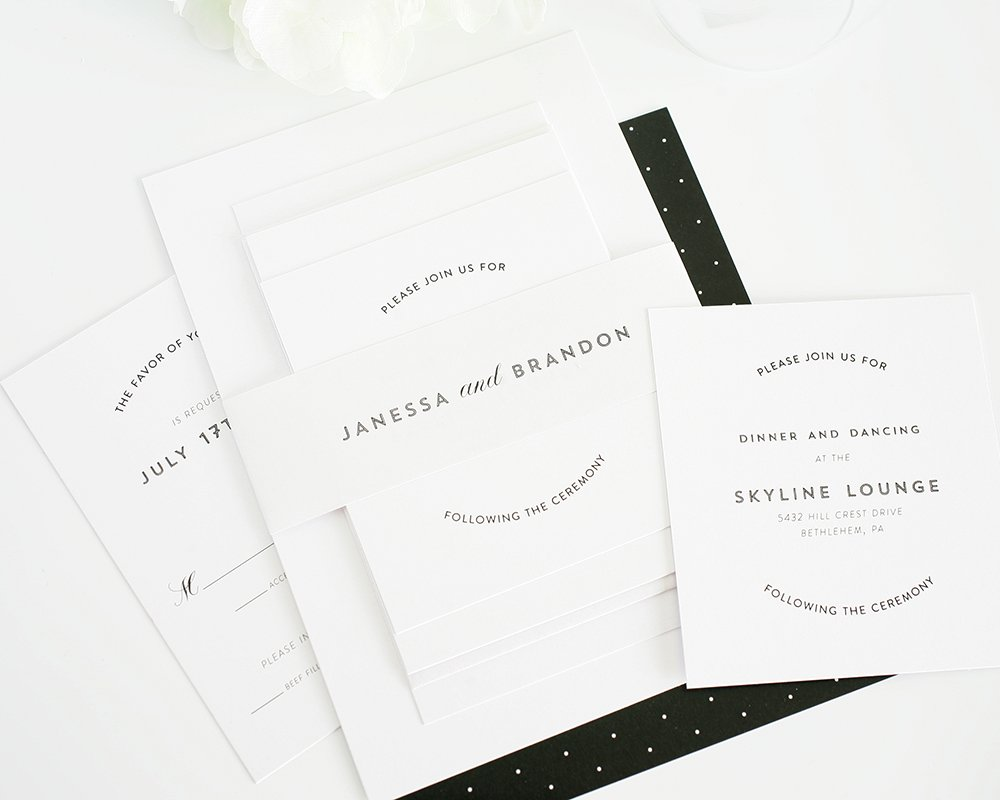 Wedding invitations in white and black