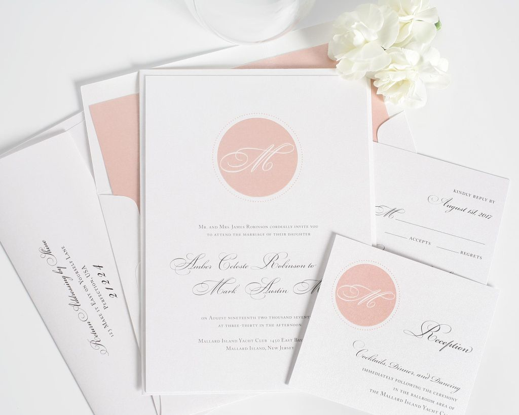 Wedding Invitations in Blush Pink