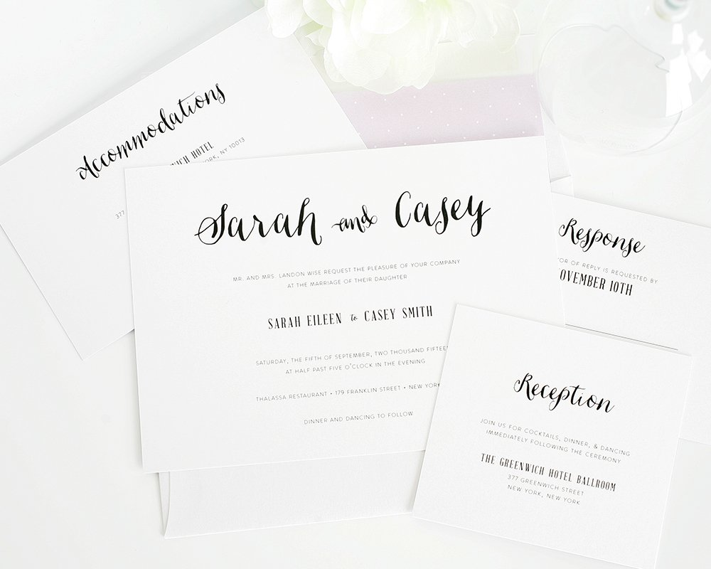 Whimsical wedding invitations with script