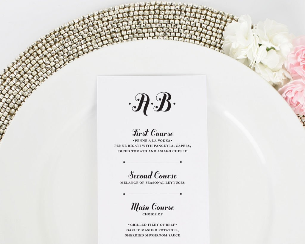Whimsy and Script Wedding Menu